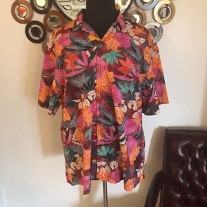 OLD NAVY multi color floral shirt sleeve shirt